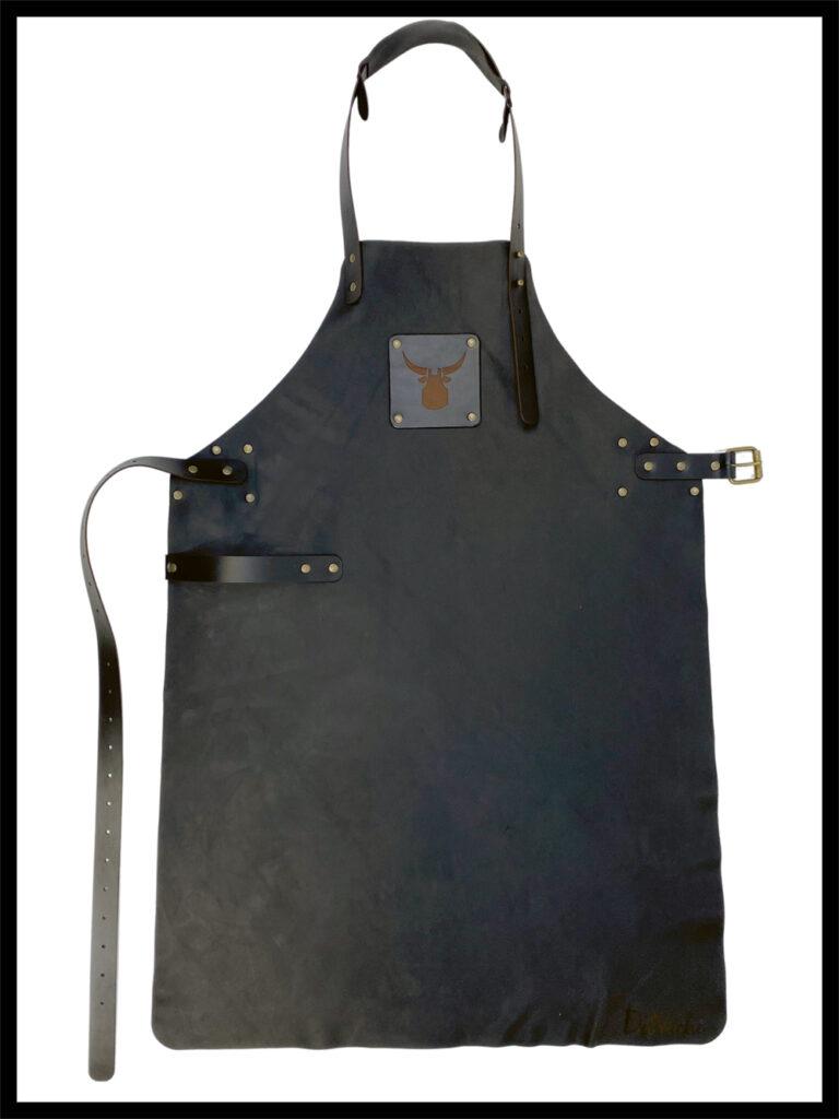 DelVache Leather apron Black Raw aniline full grain